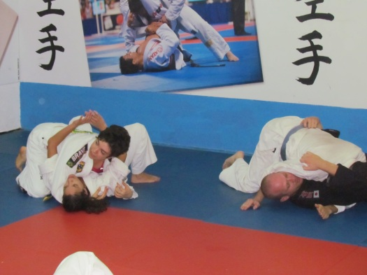 Me in a Brazilian jiu-jitsu training, performing side control